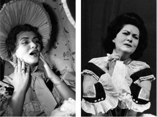 Zeani (stânga) - Musetta la Teatro Comunale di Firenze (1954); (dreapta) - Violetta la Covent Garden (1962)