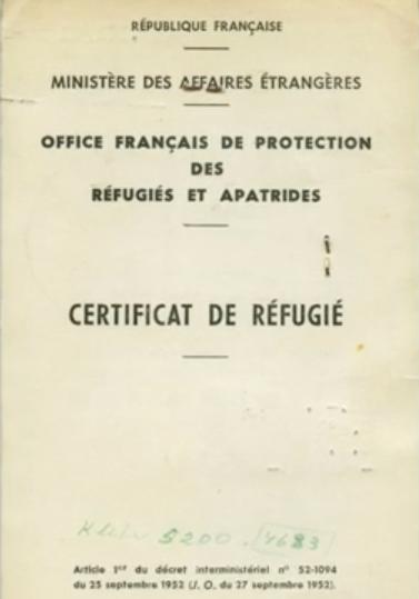 25 - Certificat de refugiat
