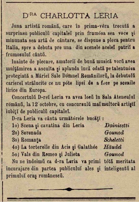"""Un mic anunț despre Charlotta Leria, apărut în ziarul """"Ghimpele"""", Nr.78 din 10 august 1878"""