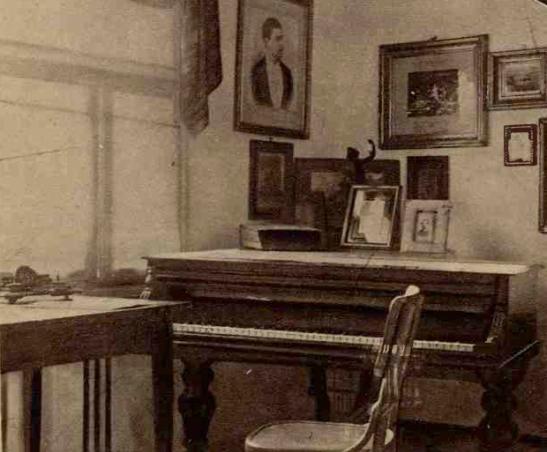 Camera unde lucrează George Enescu, când vine la Dorohoi. Se vede pianul Pleyel, masa, scaunul, călimara și tocul, cu care-și scrie compozițiile. Pe piano, se află un album cu fotografii de familie, rămas dela părinți, în perete, fotografii înrămate, cu dedicația reginei Elisabeta.