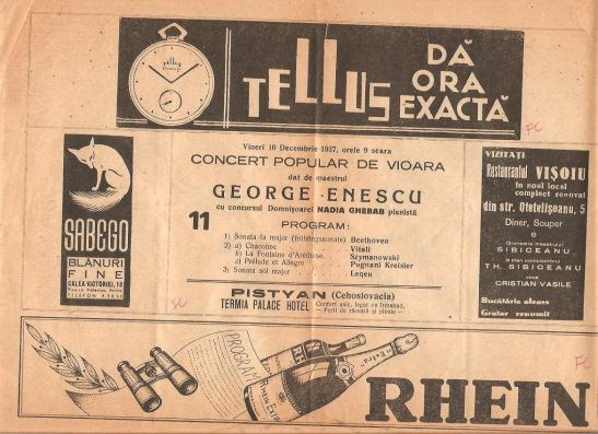 Concert program, 10 december 1937. including Szymanowsky's music performed by Enescu