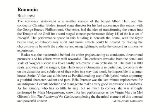 Cronica de la concertul cu Actul III al operei Parsifal din 2015 (Opera, Septembrie 2015)