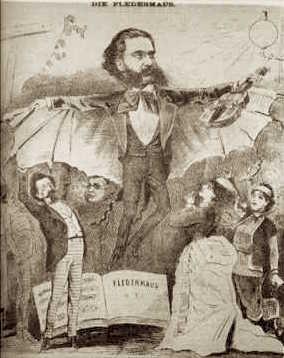 Johann Strauss-fiul, în ipostaza personajului său - Caricatură din presa austriacă, 1874