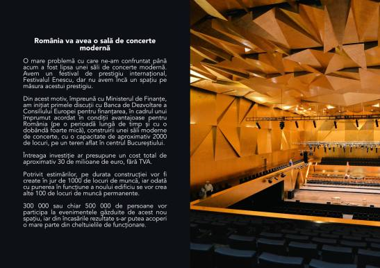 Proiectul noii săli de concerte datează din vremea ministeriatului USL