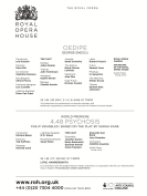 Afiș Œdipe la Royal Opera