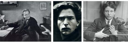 Chipuri ale compozitorului: (stânga) Enescu în apartmentul său din Paris, 1954; (centru) tânărul impresionant; (dreapta) cu instrumentul care l-a făcut faimos
