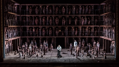 OEDIPE by Georges Enesco; Royal Opera House; Covent Garden; London, UK; 17 May 2016; Johan Reuter as Oedipe; Sarah Connolly as Jocaste; Samuel Youn as Créon; John Tomlinson as Tirésias; Sophie Bevan as Antigone; Claudia Huckle as Mérope; Marie-Nicole Lemieux as Sphinx; Alan Oke as Shepherd; Hubert Francis as Laïos; In Sung Sim as Phorbas; Nicolas Courjal as Theban High Prest; Stefan Kocan as Watchman; Samuel Dale Johnson as Thésée; Lauren Fagan as Theban Woman; Leo Hussain - Conductor; Àlex Ollé - Director; Valentina Carrasco - Associate Director; Alfons Flores - Set designer; Lluc Castells - Costume designer; Peter van Praet - Lighting designer; Photo: © ROH Photographer: CLIVE BARDA