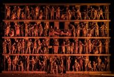OEDIPE by Georges Enesco; Royal Opera House; Covent Garden; London, UK; 20 May 2016; Johan Reuter as Oedipe; Sarah Connolly as Jocaste; Samuel Youn as Créon; John Tomlinson as Tirésias; Sophie Bevan as Antigone; Claudia Huckle as Mérope; Marie-Nicole Lemieux as Sphinx; Alan Oke as Shepherd; Hubert Francis as Laïos; In Sung Sim as Phorbas; Nicolas Courjal as Theban High Prest; Stefan Kocan as Watchman; Samuel Dale Johnson as Thésée; Lauren Fagan as Theban Woman; Leo Hussain - Conductor; Àlex Ollé - Director; Valentina Carrasco - Associate Director; Alfons Flores - Set designer; Lluc Castells - Costume designer; Peter van Praet - Lighting designer; Photo: © ROH Photographer: CLIVE BARDA