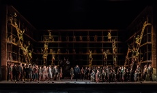 OEDIPE by Georges Enesco; Royal Opera House; Covent Garden; London, UK; 20 May 2016; Johan Reuter as Oedipe; Sarah Connolly as Jocaste; Samuel Youn as Créon; John Tomlinson as Tirésias; Sophie Bevan as Antigone; Claudia Huckle as Mérope; Marie-Nicole Lemieux as Sphinx; Alan Oke as Shepherd; Hubert Francis as Laïos; In Sung Sim as Phorbas; Nicolas Courjal as Theban High Prest; Stefan Kocan as Watchman; Samuel Dale Johnson as Thésée; Lauren Fagan as Theban Woman; Leo Hussain - Conductor; Àlex Ollé - Director; Valentina Carrasco - Associate Director; Alfons Flores - Set designer; Lluc Castells - Costume designer; Peter van Praet - Lighting designer; Photo: © ROH Photographer: CLIVE BARDA
