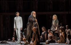 OEDIPE by Georges Enesco; Royal Opera House; Covent Garden; London, UK; 20 May 2016; Johan Reuter as Oedipe; Sophie Bevan as Antigone; Samuel Dale Johnson as Thésée (left); Leo Hussain - Conductor; Àlex Ollé - Director; Valentina Carrasco - Associate Director; Alfons Flores - Set designer; Lluc Castells - Costume designer; Peter van Praet - Lighting designer; Photo: © ROH Photographer: CLIVE BARDA