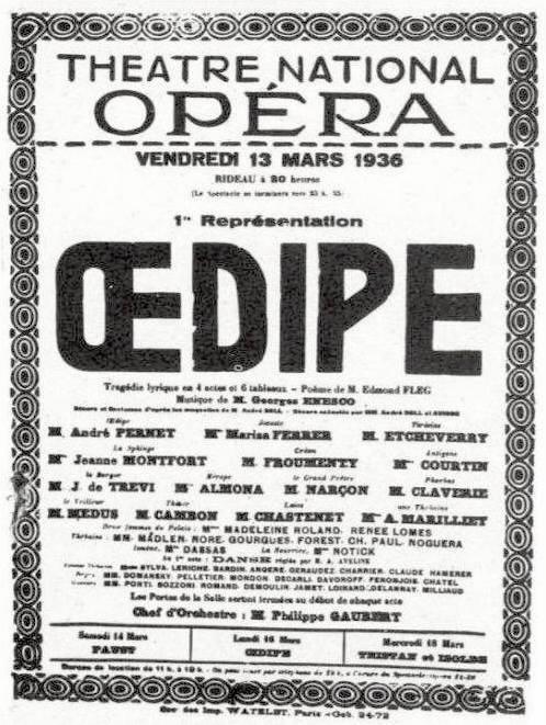 Afiș pentru premiera cu Œdipe, 1936
