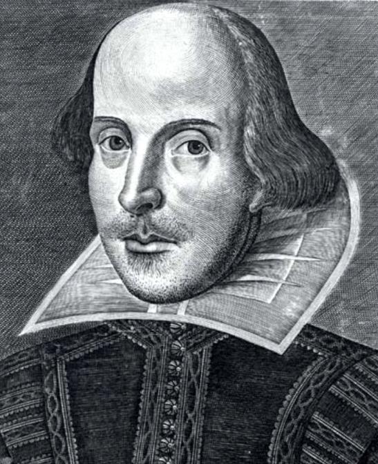 Portretul lui William Shakespeare realizat de Martin Droeshout și gravat pentru ediția princeps din 1623
