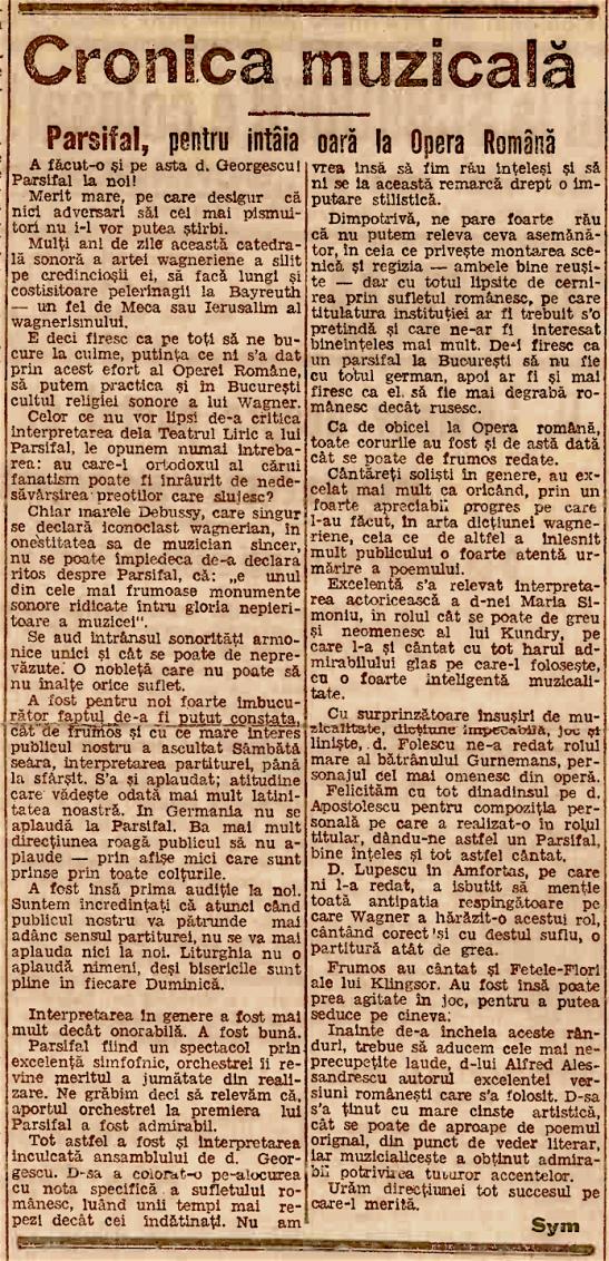 Cronica de la premiera operei Parsifal din 1932 (Adevărul, 18 Octombrie 1932)
