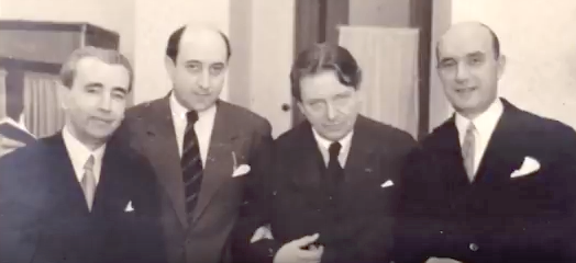 De la stânga la dreapta: Alexandru Theodorescu, Alfred Alessandrescu, George Enescu, George Georgescu