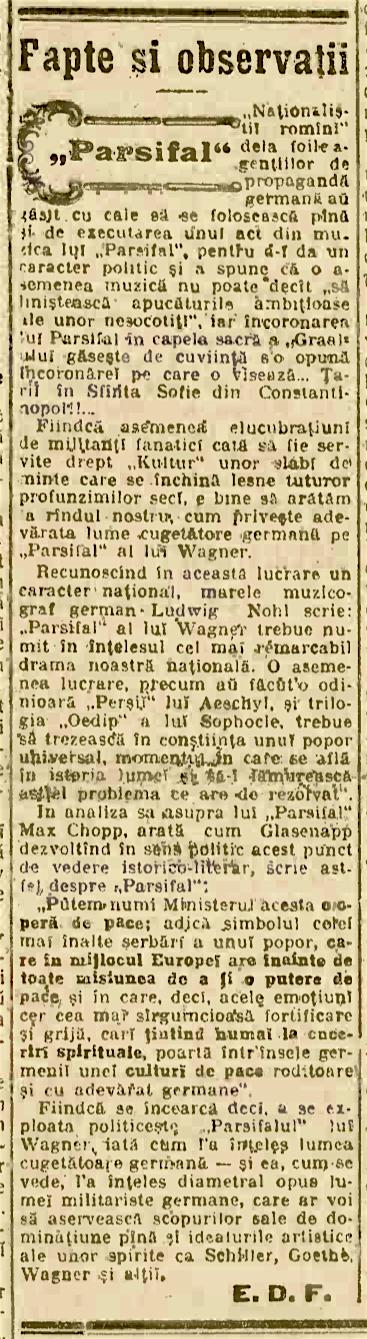 Pamflet apărut în 1915 în legătură cu Parsifal