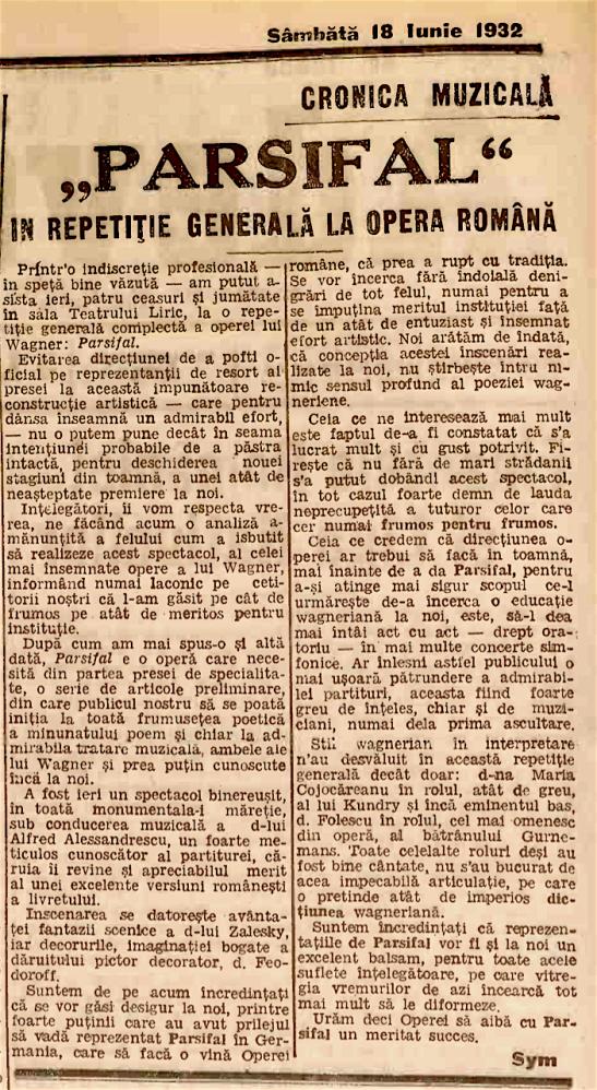 Reportaj de la repetițiile cu Parsiflal la Opera Română București (Adevărul, 18 Iunie 1932)
