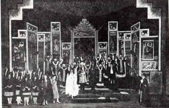 Scenografie realizată de Victor Feodorov pentru Turandot, piesa de teatru a lui Carlo Gozzi, la Teatrul Național