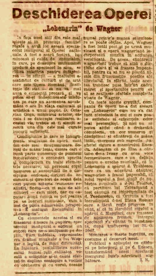 Adevărul, 10 Decembrie 1921, cronica premierei operei Lohengrin