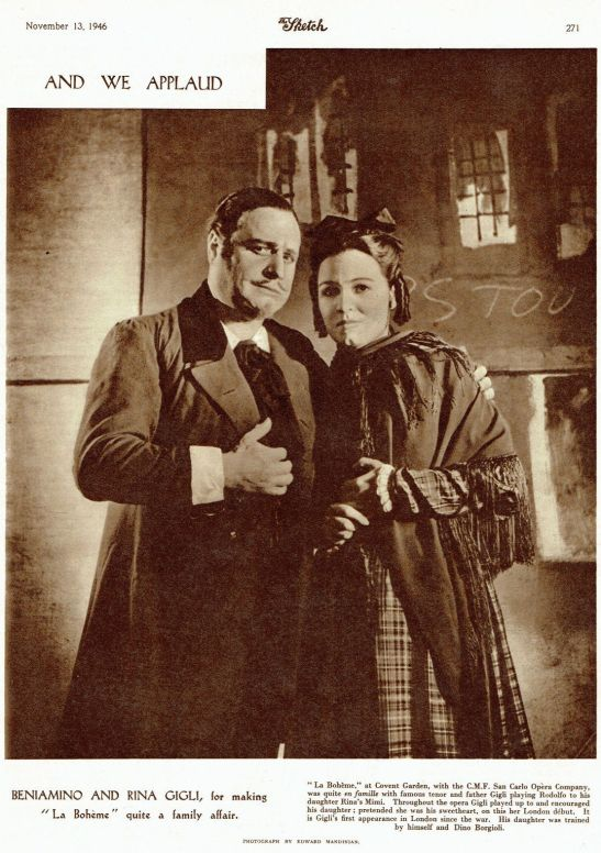 Beniamino Gigli și fiica sa, Rina, în rolurile Rodolfo și Mimì, la Covent Garden, în 1946