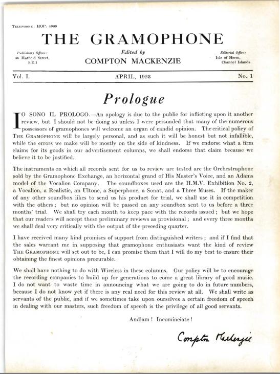 Editorialul lui Compton McKenzie din primul număr al revistei Gramophone (Aprilie 1923)