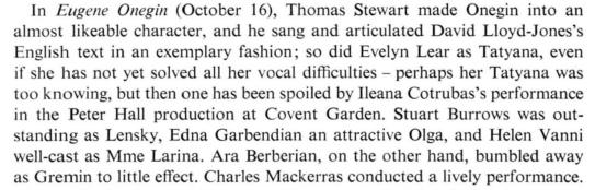 Cronica Evgheni Oneghin (Evelyn Lear, 1971)
