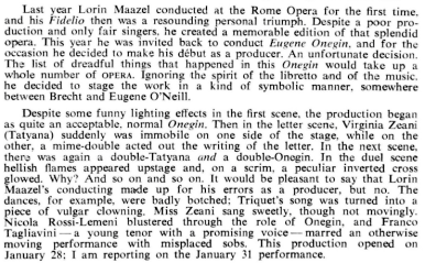 Cronica Evgheni Oneghin (Zeani, 1965)