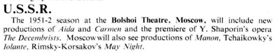 Anunt premiera Decembristii - Opera, Februarie 1952