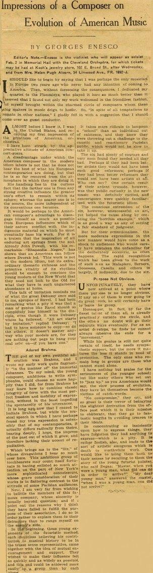 Enescu in America 1926 - 4