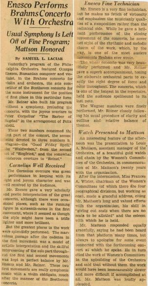 Enescu in America 1927 - 2